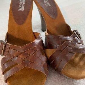 Brown open toe strappy heels